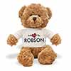 Adopted By ROBSON Teddy Bear Wearing a Personalised Name T-Shirt