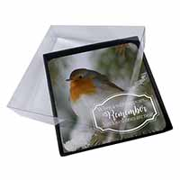 4x Little Robin Red Breast Picture Table Coasters Set in Gift Box