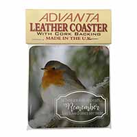 Little Robin Red Breast Single Leather Photo Coaster Perfect Gift