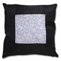 Snow Flakes Black Border Satin Feel Scatter Cushion