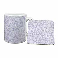 Snow Flakes Mug+Coaster Birthday Gift Idea