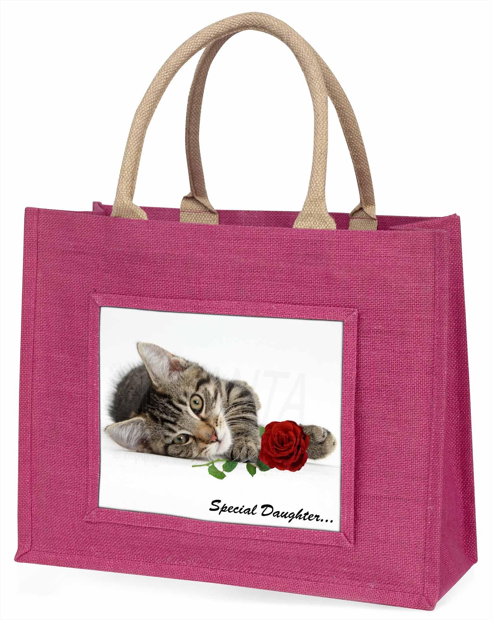 Kätzchen mit rosé 'Special Daughter' große rosa Einkaufstasche