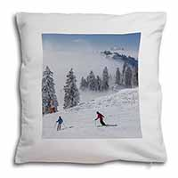 Snow Ski Skiers on Mountain Soft Velvet Feel Scatter Cushion