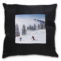 Snow Ski Skiers on Mountain Black Border Satin Feel Scatter Cushion