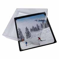 4x Snow Ski Skiers on Mountain Picture Table Coasters Set in Gift Box
