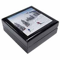 Snow Ski Skiers on Mountain Keepsake/Jewel Box Birthday Gift Idea