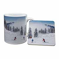 Snow Ski Skiers on Mountain Mug+Coaster Birthday Gift Idea