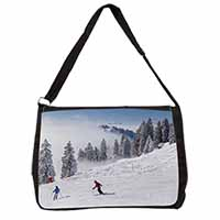 Snow Ski Skiers on Mountain Large Black Laptop Shoulder Bag School/College