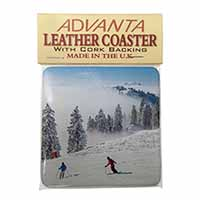 Snow Ski Skiers on Mountain Single Leather Photo Coaster Perfect Gift