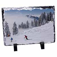Snow Ski Skiers on Mountain Photo Slate Photo Ornament Gift