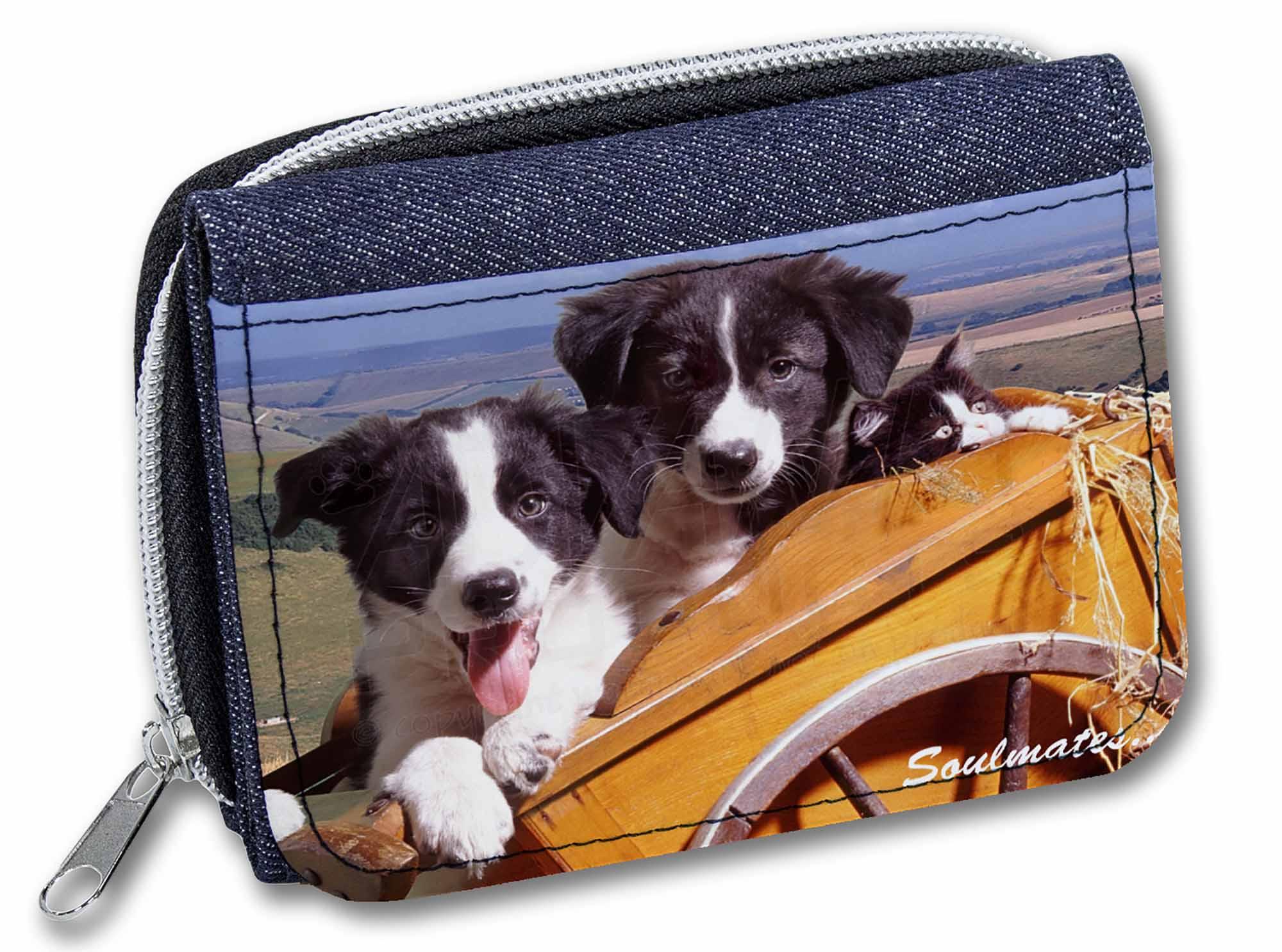 SOUL-24JW Border Collie Puppies /'Soulmates/' Girls//Ladies Denim Purse Wallet Chr