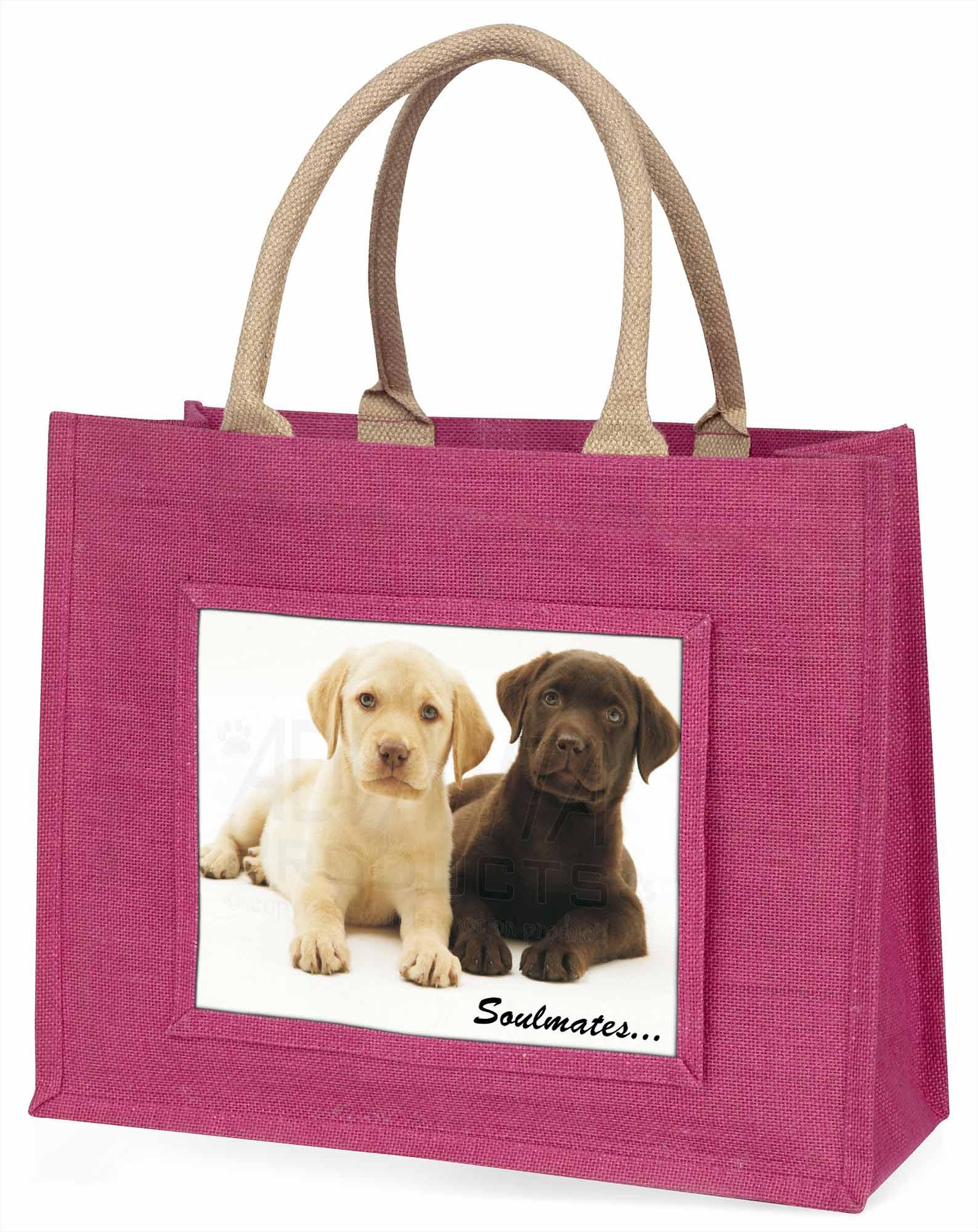 gelb + Schoko Labrador Welpen  Soulmates  große rosa Einkauf Tasche,soul-39blp