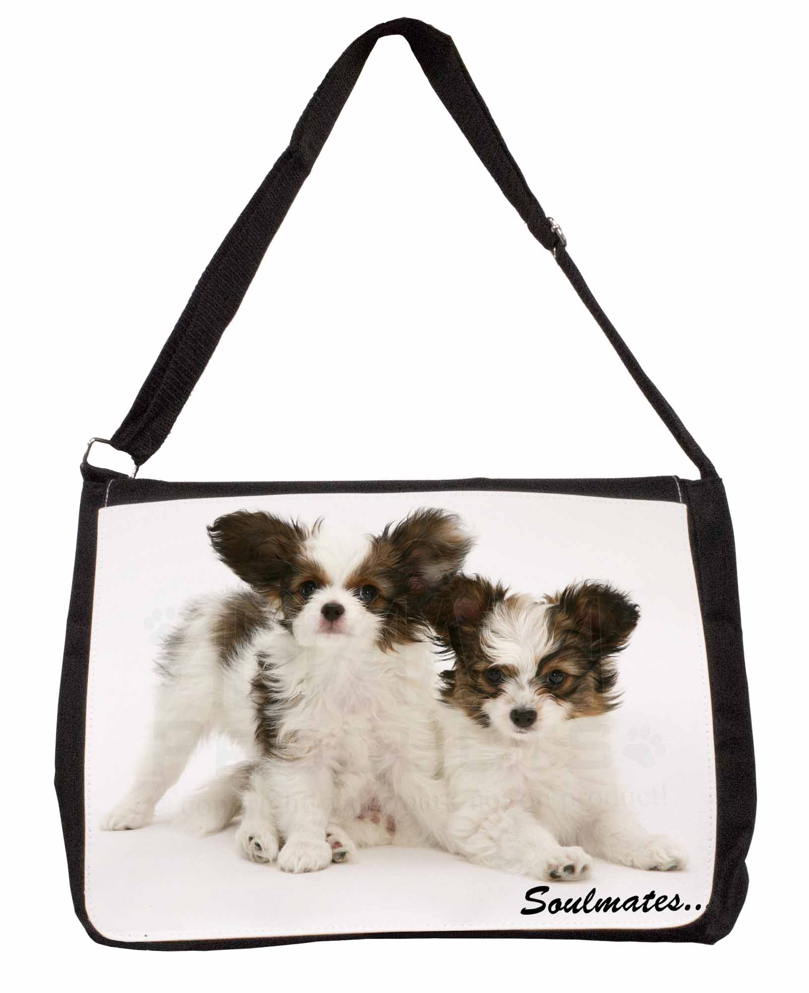Black Pug Dogs /'Soulmates/' Large Black Laptop Shoulder Bag School//Col SOUL-43SB