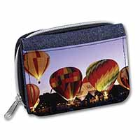 Hot Air Balloons at Night Girls/Ladies Denim Purse Wallet Christmas Gift Idea