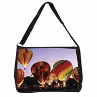 Hot Air Balloons at Night Large Black Laptop Shoulder Bag School/College