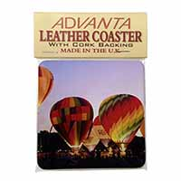 Hot Air Balloons at Night Single Leather Photo Coaster Perfect Gift