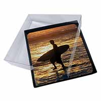 4x Sunset Surf Picture Table Coasters Set in Gift Box