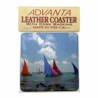 Sailing Regatta Single Leather Photo Coaster Animal Breed Gift