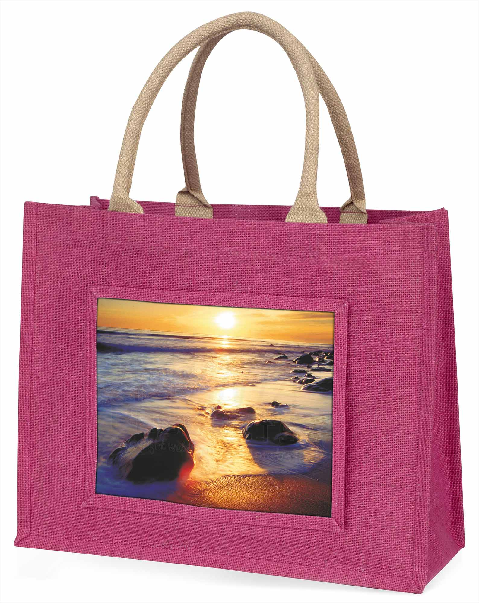 Abgeschieden Sonnenuntergang Strand große rosa Einkaufstasche