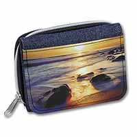Secluded Sunset Beach Girls/Ladies Denim Purse Wallet Christmas Gift Idea