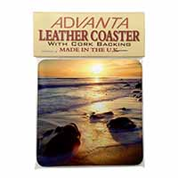 Secluded Sunset Beach Single Leather Photo Coaster Animal Breed Gift