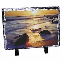 Secluded Sunset Beach Photo Slate Christmas Gift Ornament