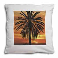 Tropical Palm Sunset Soft Velvet Feel Cushion Cover With Pillow Inner