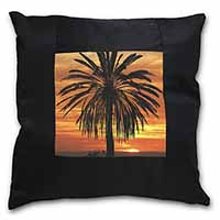 Tropical Palm Sunset Black Border Satin Feel Cushion Cover+Pillow Insert