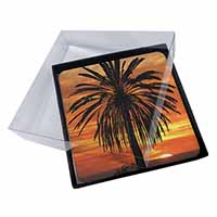 4x Tropical Palm Sunset Picture Table Coasters Set in Gift Box