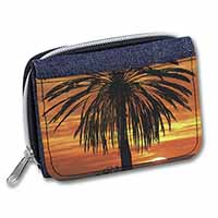 Tropical Palm Sunset Girls/Ladies Denim Purse Wallet Birthday Gift Idea
