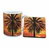 Tropical Palm Sunset Mug+Coaster Christmas/Birthday Gift Idea