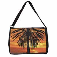 Tropical Palm Sunset Large Black Laptop Shoulder Bag School/College
