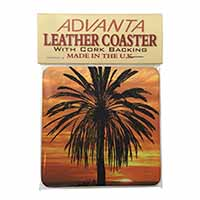 Tropical Palm Sunset Single Leather Photo Coaster Perfect Gift