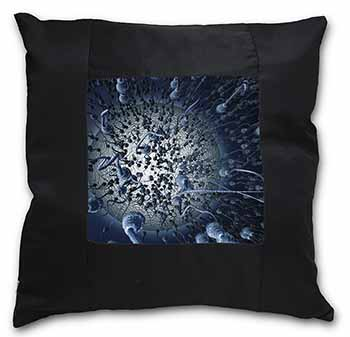Racing Sperms-No Condoms Needed! Black Border Satin Feel Scatter Cushion