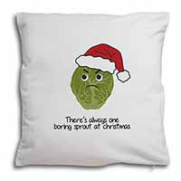 Christmas Grumpy Sprout Soft Velvet Feel Cushion Cover With Pillow Inner