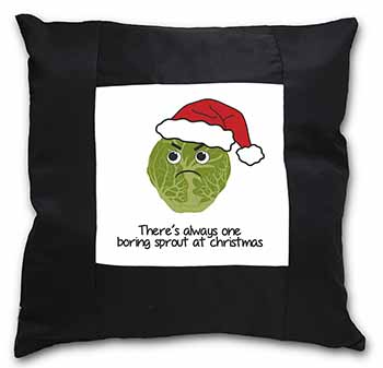 Christmas Grumpy Sprout Black Border Satin Feel Scatter Cushion