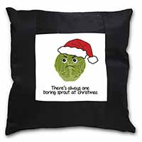 Christmas Grumpy Sprout Black Border Satin Feel Cushion Cover+Pillow Insert