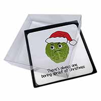 4x Christmas Grumpy Sprout Picture Table Coasters Set in Gift Box