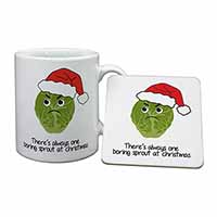 Christmas Grumpy Sprout Mug+Coaster Birthday Gift Idea