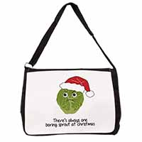 Christmas Grumpy Sprout Large Black Laptop Shoulder Bag School/College
