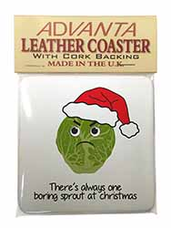 Christmas Grumpy Sprout Single Leather Photo Coaster Perfect Gift