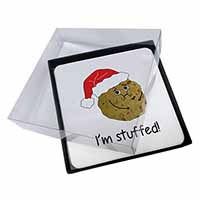 4x Chirstmas Stuffing Ball Picture Table Coasters Set in Gift Box