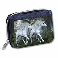 Two White Unicorns Girls/Ladies Denim Purse Wallet Birthday Gift Idea