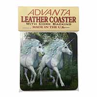 Two White Unicorns Single Leather Photo Coaster Perfect Gift