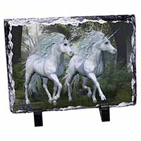 Two White Unicorns Photo Slate Photo Ornament Gift