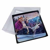 4x Magical Unicorn, Owl & Fairy Picture Table Coasters Set in Gift Box