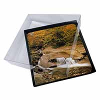 4x Autumn Waterfall Picture Table Coasters Set in Gift Box