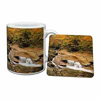 Autumn Waterfall Mug+Coaster Birthday Gift Idea