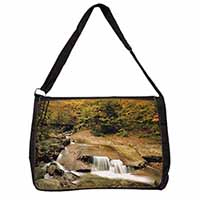 Autumn Waterfall Large Black Laptop Shoulder Bag School/College