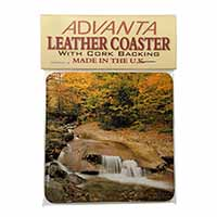 Autumn Waterfall Single Leather Photo Coaster Perfect Gift